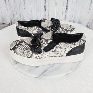 ash Snake Print Leather Platform Sneakers w Chain